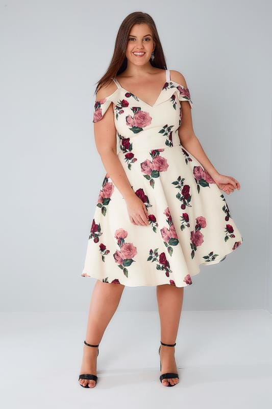 CHI CHI Ivory & Multi Floral Strappy Cold Shoulder Dress