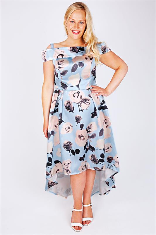 CHI CHI LONDON Pale Blue Floral Print Sateen Prom Dress