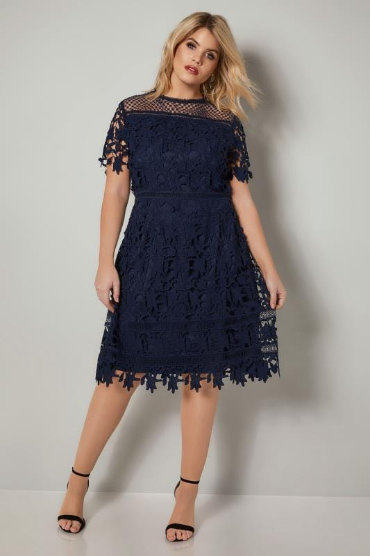 CHI CHI Navy Blue A-Line Dress With Crochet Overlay