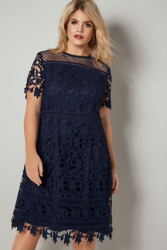 Plus Size Swing Dresses CHI CHI Navy Blue A-Line Dress With Crochet Overlay