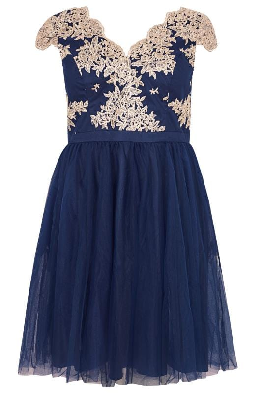 Plus Size Evening Dresses CHI CHI Navy & Gold Joan Dress