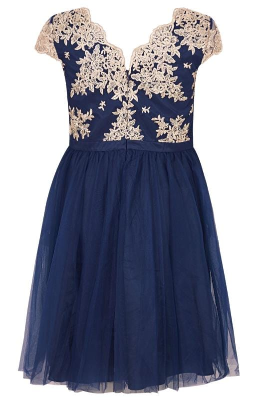 CHI CHI Navy & Gold Joan Dress