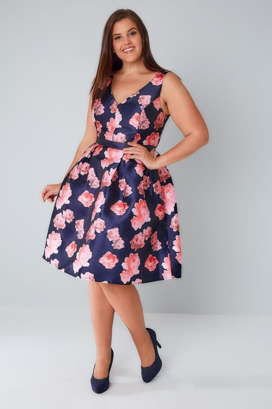 CHI CHI Navy & Pink Floral Dress With Plunge Front