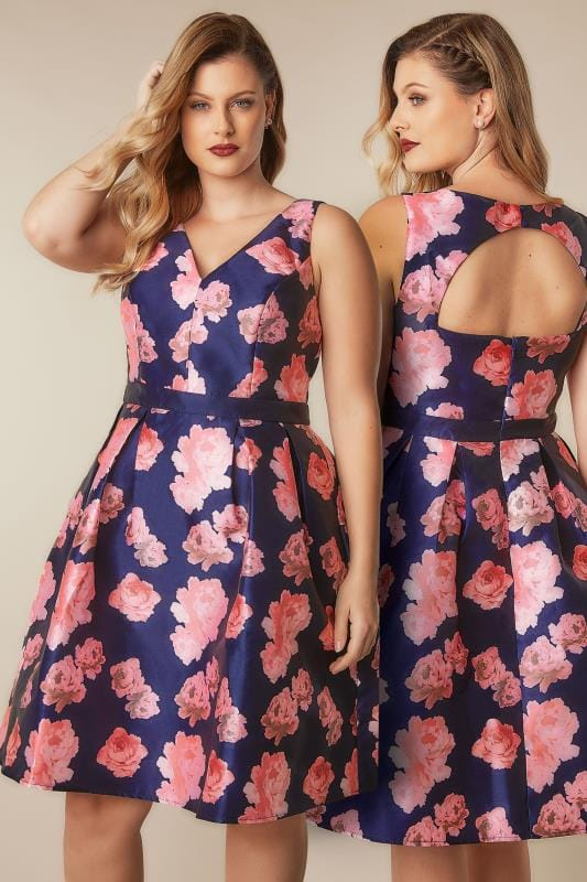 Party Dresses CHI CHI Navy & Pink Floral Dress With Plunge Front 138354