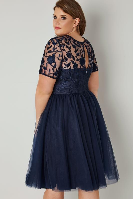 CHI CHI Navy Skater Dress With Floral Lace Bodice & Mesh Skirt