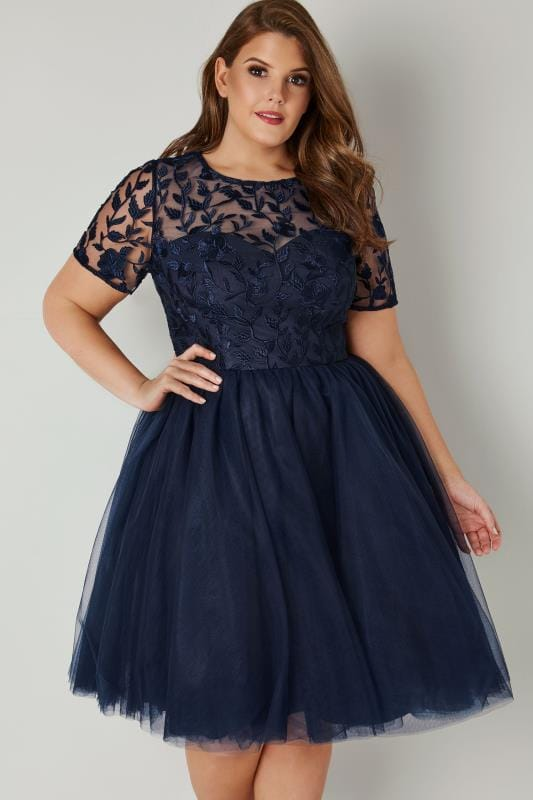 Plus Size Evening Dresses CHI CHI Navy Skater Dress With Floral Lace Bodice & Mesh Skirt
