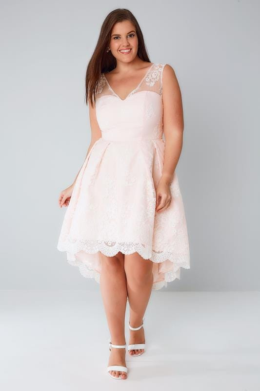 Party Dresses CHI CHI Nude Pink Floral Lace Overlay Dress With Dipped Hem 138357