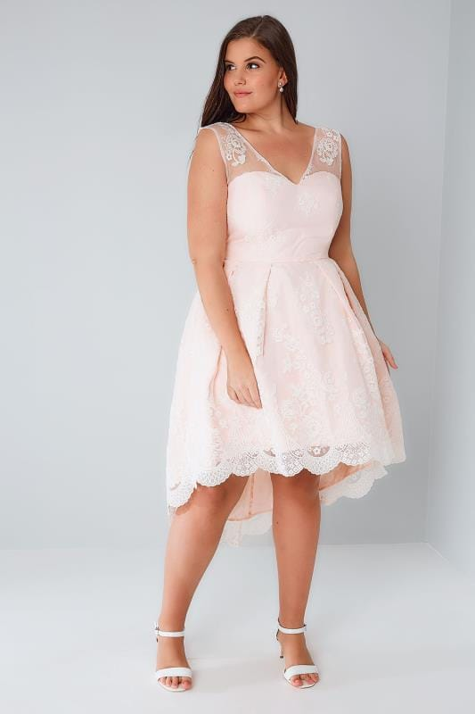 CHI CHI Nude Pink Floral Lace Overlay Dress With Dipped Hem