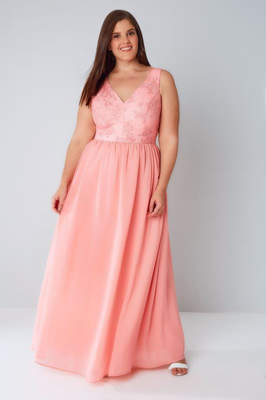 CHI CHI Pink Sleeveless Maxi Dress With Embroidered Body & Mesh Skirt