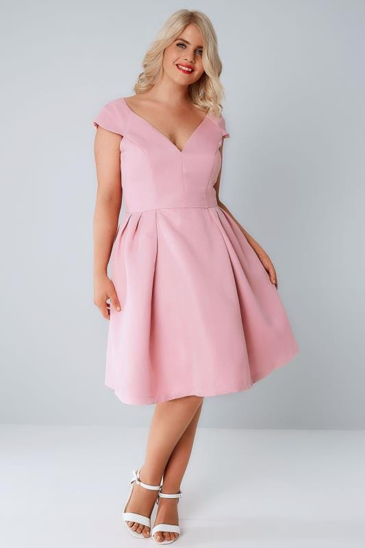 CHI CHI Pink V-Neck Prom Dress With Cap Sleeves
