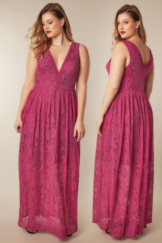 CHI CHI Raspberry Pink Sleeveless Maxi Dress With Floral Lace Overlay