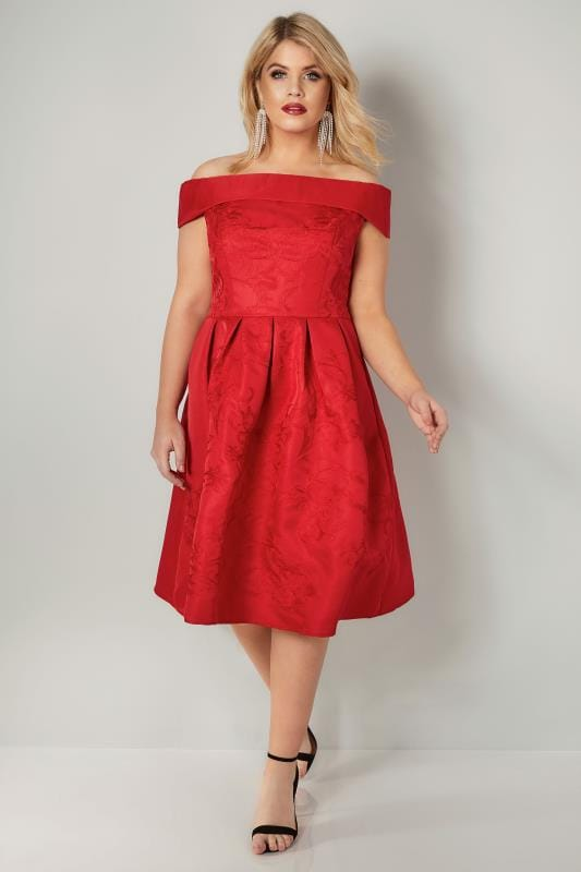 CHI CHI Red Heloise Floral Embroidered Bardot Dress