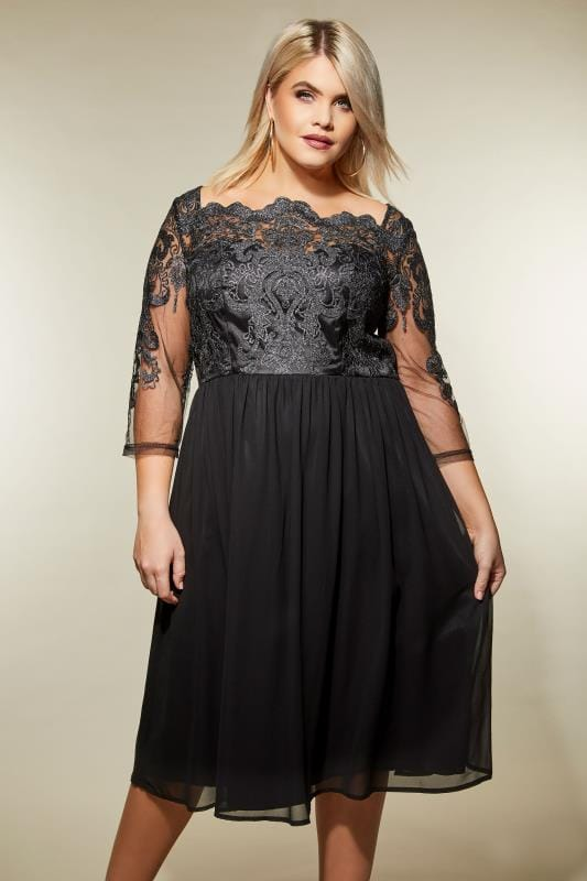 Plus Size Black Dresses CHi CHI Black Metallic Mesh Dress
