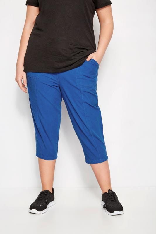 Plus Size Cropped Pants Cobalt Blue Cotton Cropped Trousers