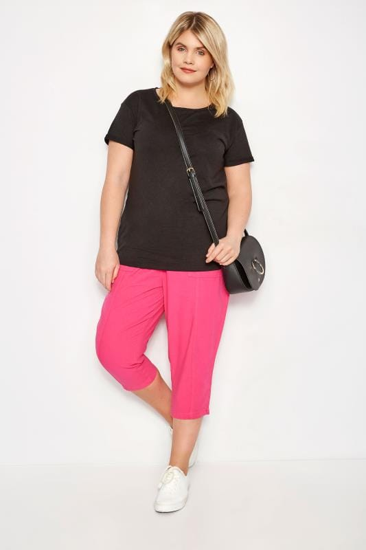 Fuchsia Cotton Cropped Trousers