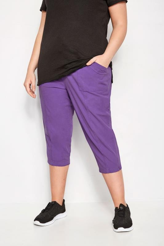 Plus Size Cropped Trousers Purple Cotton Cropped Trousers
