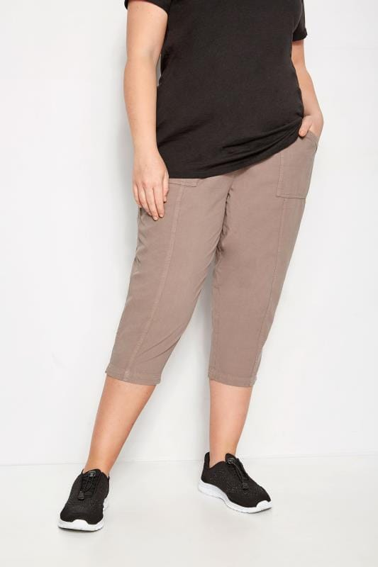 Plus Size Cropped Pants Brown Cotton Cropped Trousers