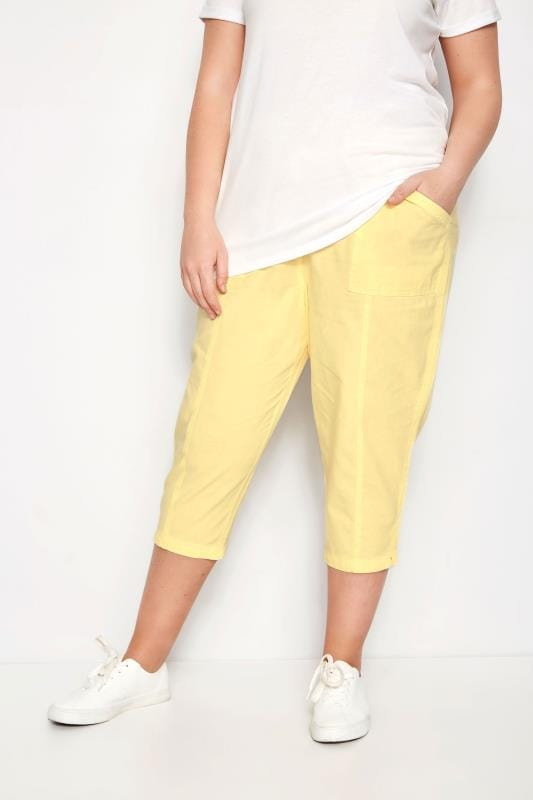 Plus Size Cropped Trousers Yellow Cotton Cropped Trousers