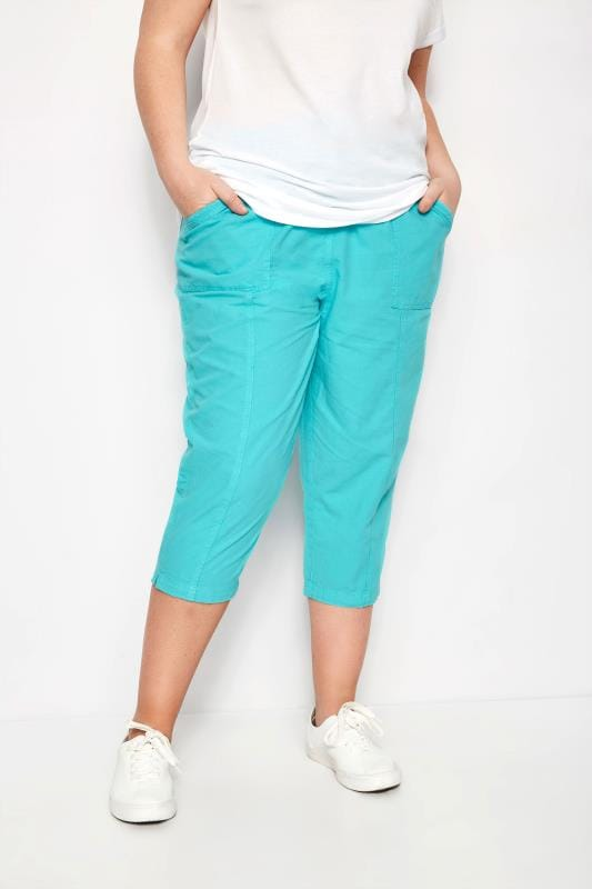 Plus Size Cropped Trousers Turquoise Cropped Cotton Trousers