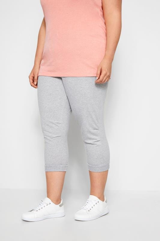 Plus Size Track Pants Grey Cropped Joggers