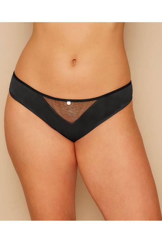Plus Size Briefs & Knickers CURVY KATE Black Peak-A-Boo Mesh Brief