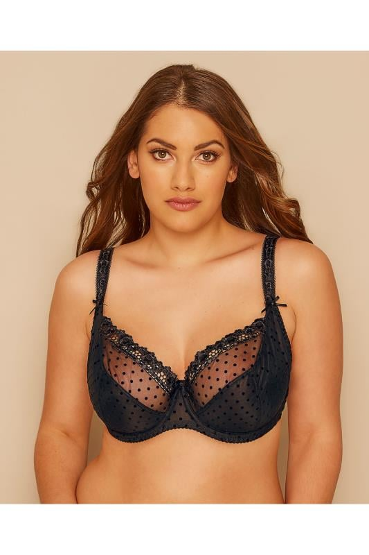 CURVY KATE Black Princess Polka Dot Balcony Bra