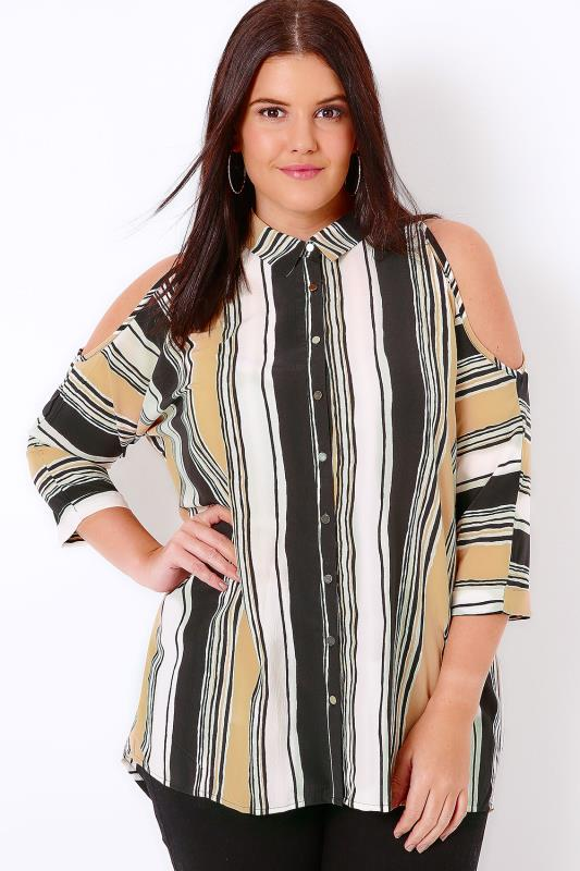 Camel Mix Striped Cold Shoulder Shirt