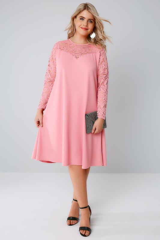 Candy Pink Swing Dress With Lace Yoke & Sleeves