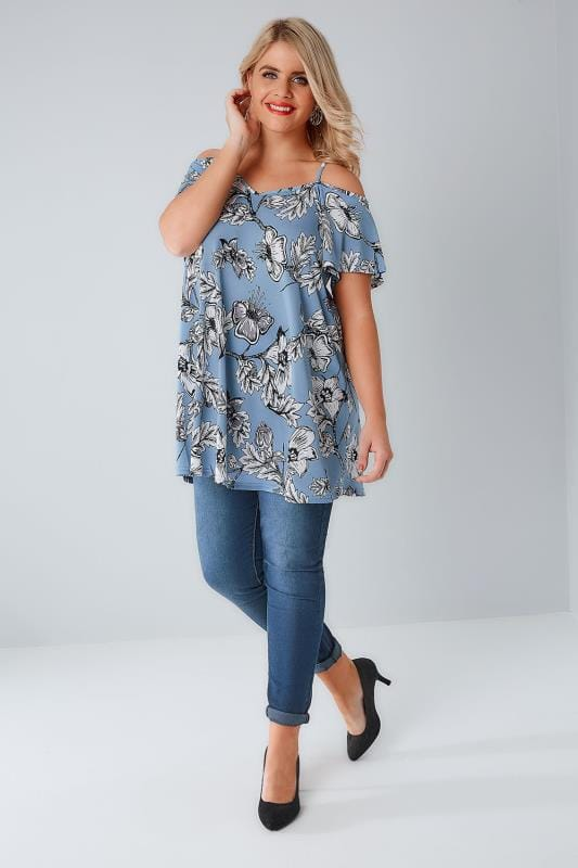 Chambray Blue Floral Cold Shoulder Jersey Cami Top