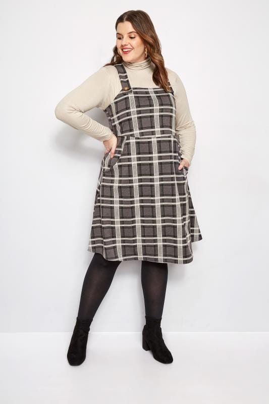 Plus Size Pinafore Dresses Charcoal Grey Check Pinafore Dress