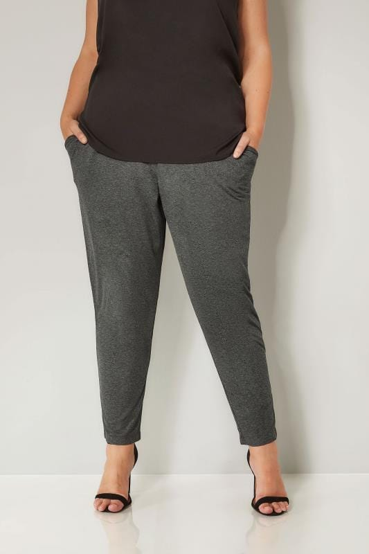 Charcoal Grey Double Pleat Jersey Harem Trousers