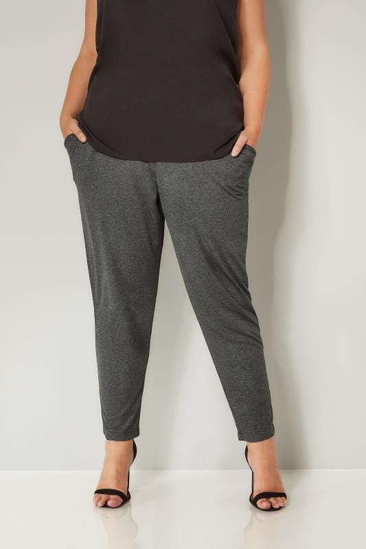 Plus Size Harem Trousers Charcoal Grey Double Pleat Jersey Harem Trousers