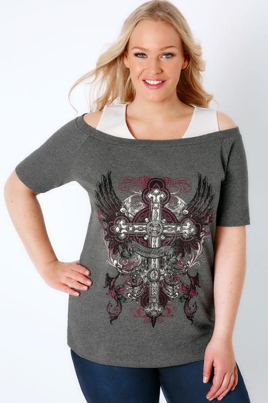 "Charcoal Grey ""Eternal Love"" Printed 2 In 1 Bardot Top"
