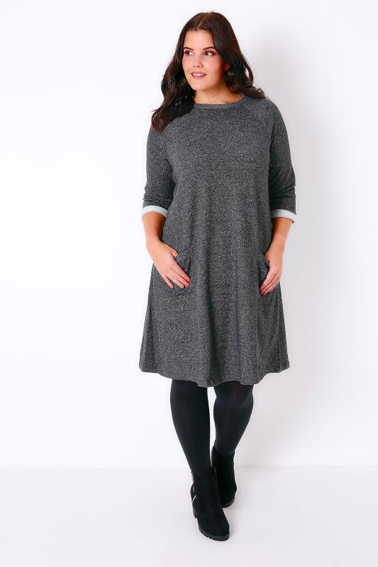 Charcoal Grey Jersey Shift Dress With Front Pockets