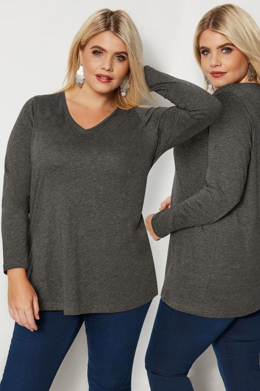 Plus Size Day Tops Charcoal Grey Long Sleeved V-Neck Jersey Top