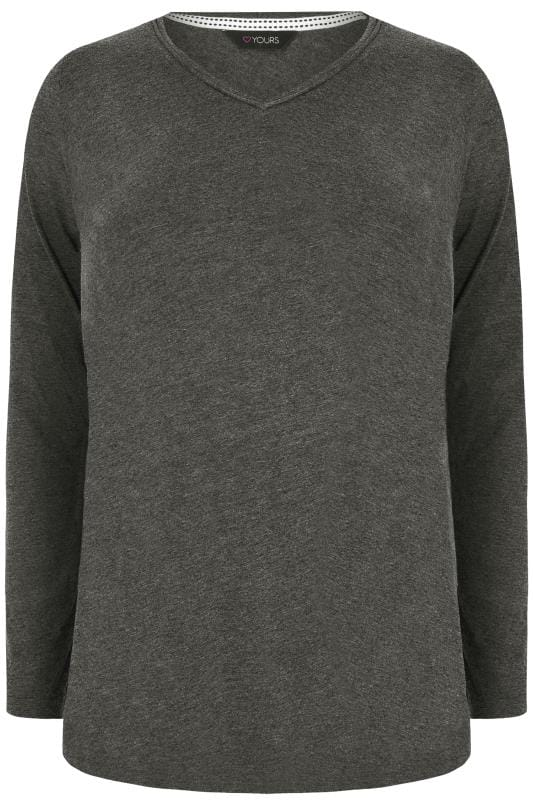 Charcoal Grey Long Sleeved V-Neck Jersey Top
