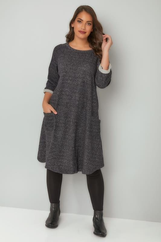 Charcoal & Grey Mix Jersey Sweat Dress With Front Pockets
