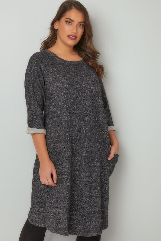 Swing & Shift Dresses Charcoal & Grey Mix Jersey Sweat Dress With Front Pockets 136174