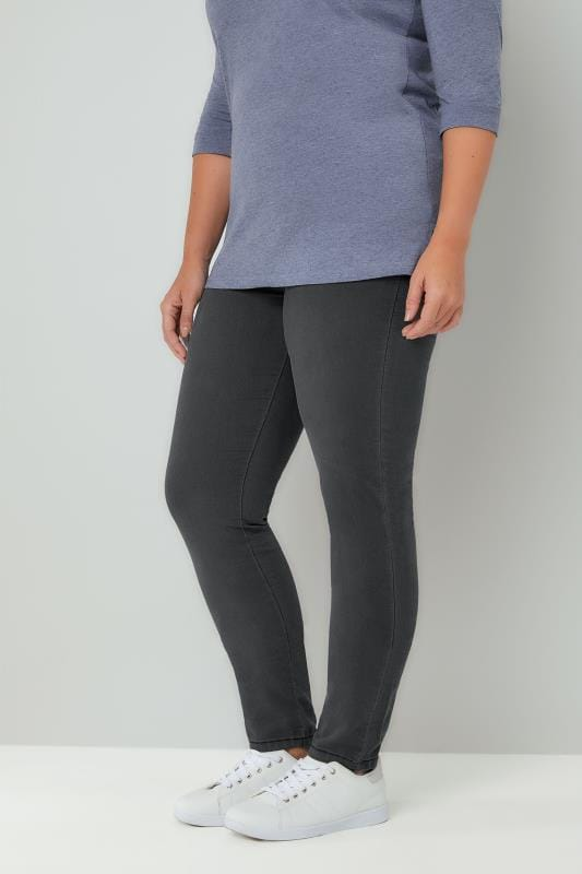 Plus Size Shaper Jeans Charcoal Grey Pull On LOLA Jeggings