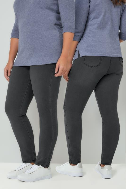 Shaper Jeans Charcoal Grey Pull On Stretch SHAPER Jeggings 142089