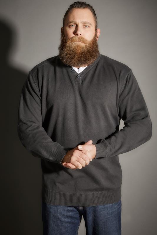 Charcoal Grey V-Neck Jumper With Mock T-Shirt Collar