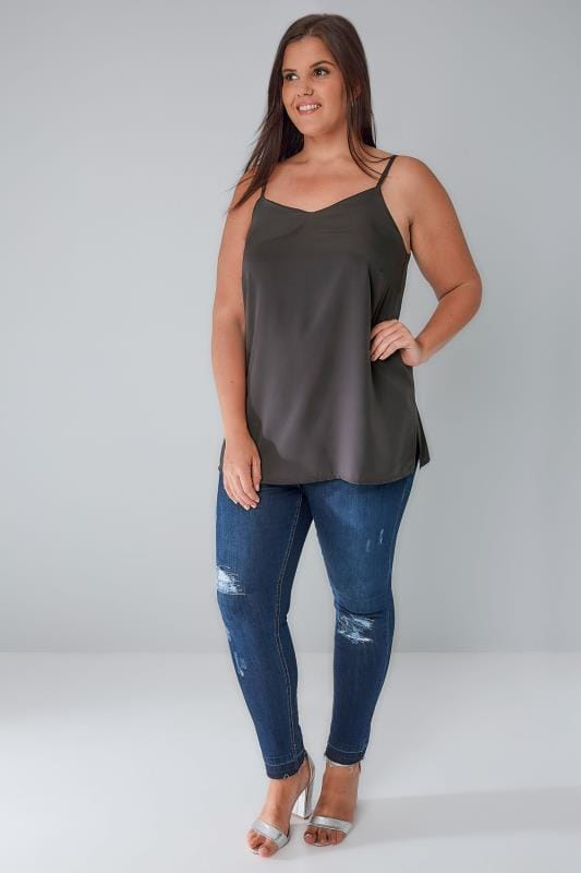 Charcoal Grey Woven Cami Top With Side Splits