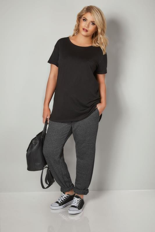 Charcoal Joggers With Elasticated Cuffs