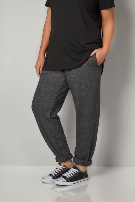 Plus Size Joggers Charcoal Joggers With Elasticated Cuffs