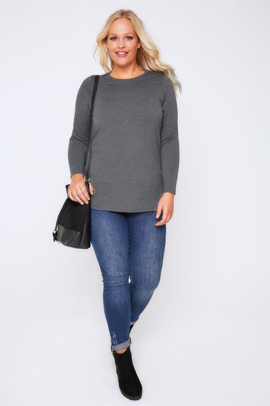 YOURS LONDON Charcoal Marl Long Sleeve Soft Touch Jersey Top