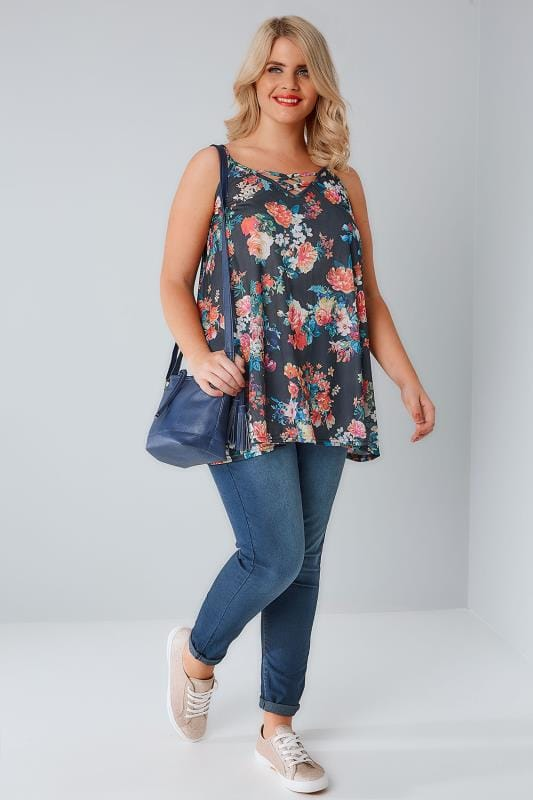 Charcoal & Multi Floral Print V-Neck Cami Vest Top With Cross Front Detail