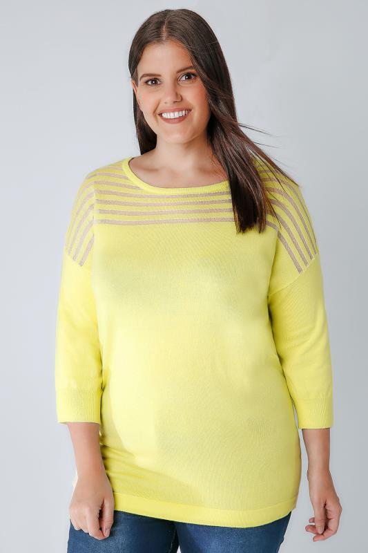 Jumpers Chartreuse Green Jumper With Sheer Striped Yoke 124011