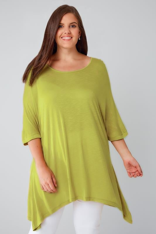 Chartreuse Green Oversized Soft Textured Jersey Top With Grown On Sleeves