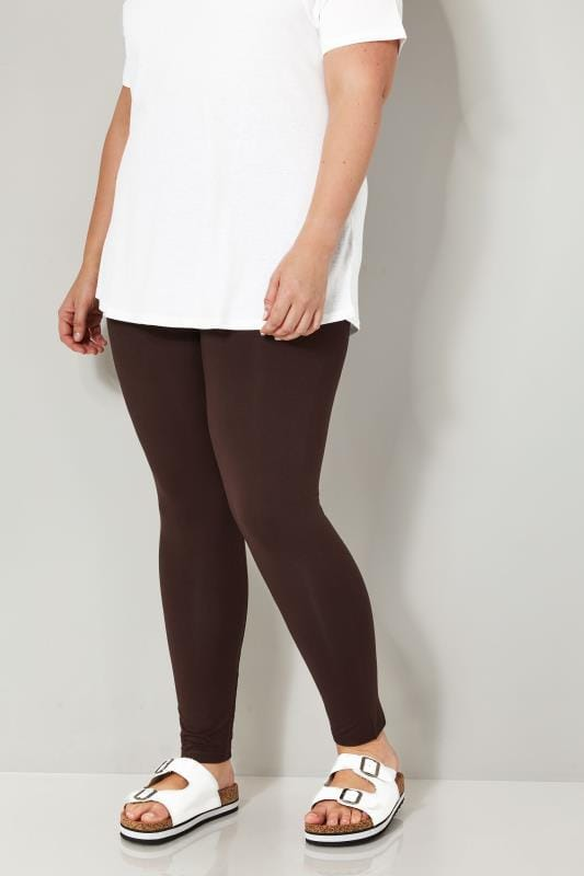 Plus Size Basic Leggings Chocolate Brown Soft Touch Leggings
