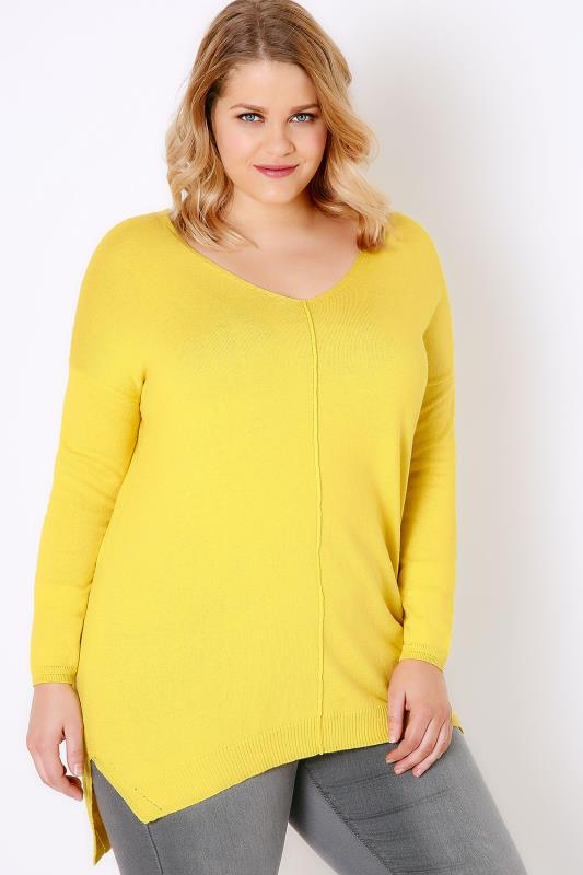 Citrus Yellow Knitted V-Neck Longline Jumper With Step Hem